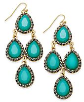INC International Concepts Gold-Tone Green Stone Chandelier Earrings, Created for Macy's
