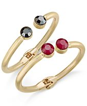 INC International Concepts Gold-Tone 2-Pc. Set Faceted Stone Hinged Bangle Bracelets, Created for Macy's