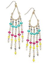 INC International Concepts Gold-Tone Multicolor Beaded Fringe Earrings, Created for Macy's