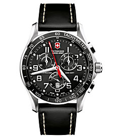 Victorinox Swiss Army Men's Chronograph Classic XLS Black Leather Strap Watch 45mm 241444