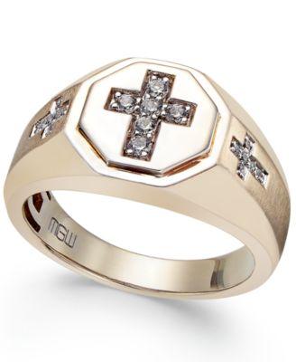 Mens Diamond Cross Ring 15 ct tw in 10k Gold Rings