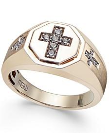 Men's Diamond Cross Ring (1/5 ct. t.w.) in 10k Gold