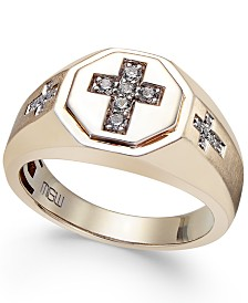 Men's Diamond Cross Ring (1/5 ct. t.w.) in 10k Gold