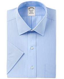 Brooks Brothers Men's Regent Slim-Fit Non-Iron Short Sleeve Light Blue Solid Dress Shirt