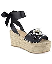 GUESS Women's Razzle Embellished Lace-Up Espadrilles