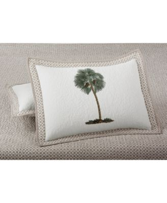 Lone Palm Cotton Embroidered Quilted Standard Sham, Created for Macy's