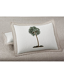 Martha Stewart Collection Lone Palm Cotton Embroidered Quilted Standard Sham, Created for Macy's
