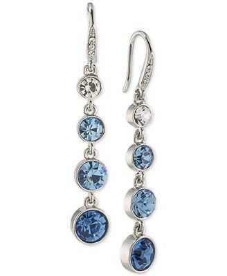 Carolee Silver-Tone Blue & Clear Crystal Linear Drop Earrings