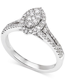 Diamond Marquise-Style Cluster Engagement Ring (1/2 ct. t.w.) in 14k White Gold