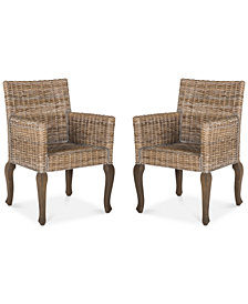 Merlo Set of 2 Wicker Dining Chairs, Quick Ship