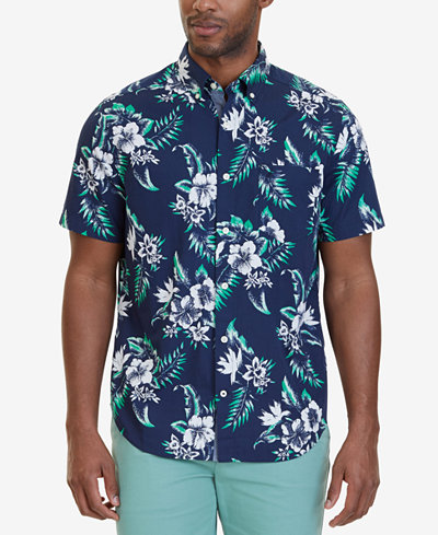 Nautica Men's Classic-Fit Floral Palm Print Short-Sleeve Shirt ...