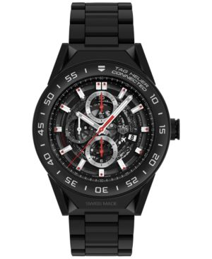 TAG HEUER Modular Connected 2.0 Men'S Swiss Diamond-Accent Black Leather Strap Smart Watch 45Mm Sbf8A8011.62Ft