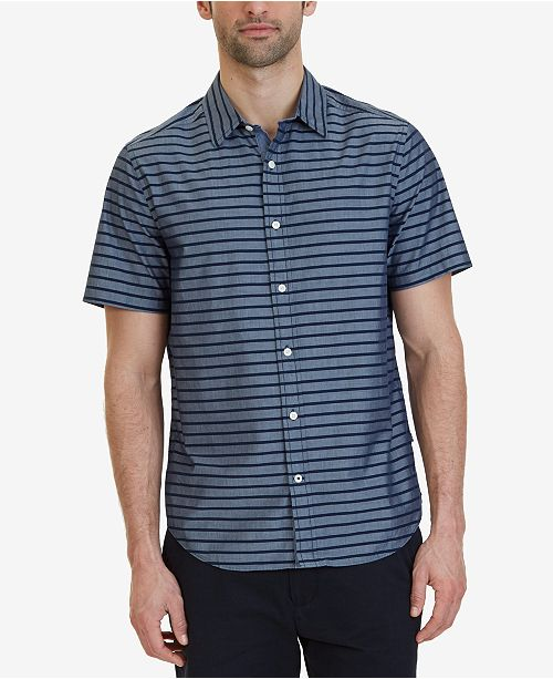 6b18d07c0c Nautica Men's Classic-Fit Striped Short-Sleeve Shirt & Reviews ...
