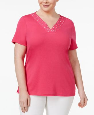 Karen Scott Plus Size Studded V-Neck Top, Only at Macy's