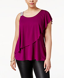 Belldini Plus Size Studded-Strap Ruffled Top