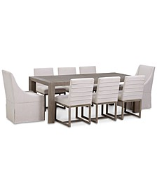 CLOSEOUT! Astor Dining 9-Pc. Set (Dining Table, 6 Side Chairs & 2 Upholstered Castered Dining Chairs)
