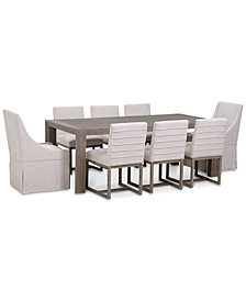 CLOSEOUT! Astor Dining 9-Pc. Furniture Set (Dining Table, 6 Side Chairs & 2 Upholstered Castered Dining Chairs)