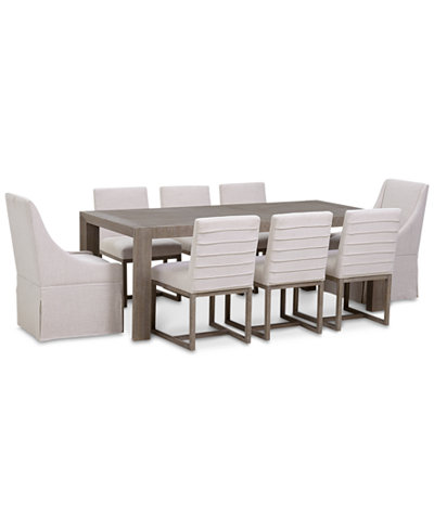 Astor Dining 9-Pc. Furniture Set (Dining Table, 6 Side Chairs & 2 Upholstered Castered Dining Chairs)