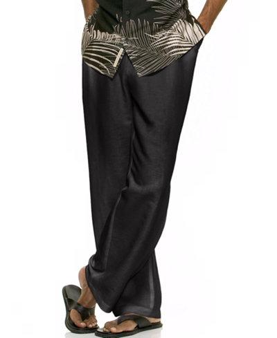 Cubavera Solid Linen-Blend Drawstring Pants 30