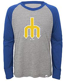 Majestic Seattle Mariners Margin Coop Raglan T-Shirt, Big Boys (8-20)