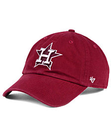 '47 Brand Houston Astros Cardinal and White Clean Up Cap