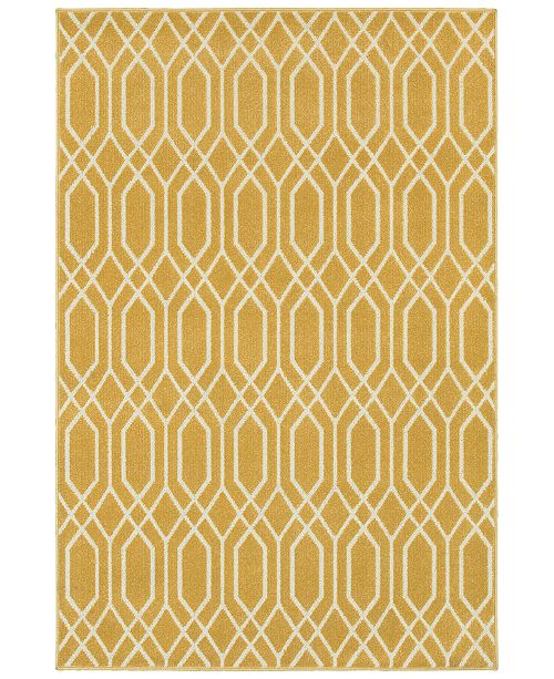 "JHB Design CLOSEOUT!  Soleil Helix Gold 9'10"" x 12'10"" Indoor/Outdoor Area Rug"