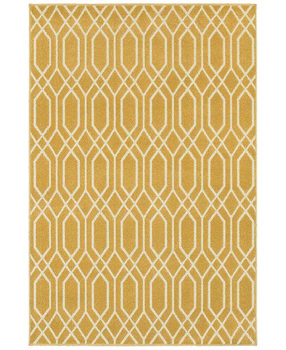 """JHB Design CLOSEOUT!  Soleil Helix Gold 5'3"""" x 7'6"""" Indoor/Outdoor Area Rug"""