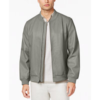 Alfani Mens Capsule Leather Bomber Jacket (Tiramisu)