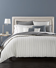 CLOSEOUT! Hotel Collection Linen Ticking Stripe Duvet Covers, Created for Macy's
