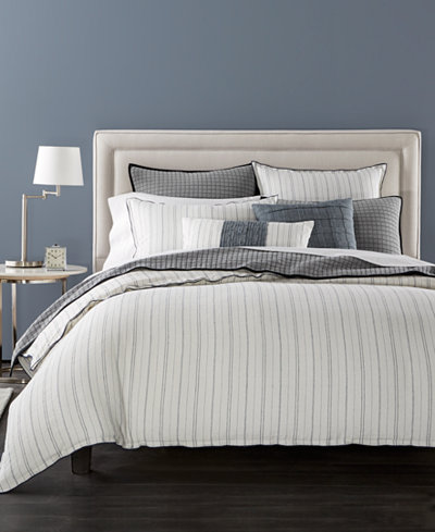 CLOSEOUT! Hotel Collection Linen Ticking Stripe Bedding Collection, Created for Macy's