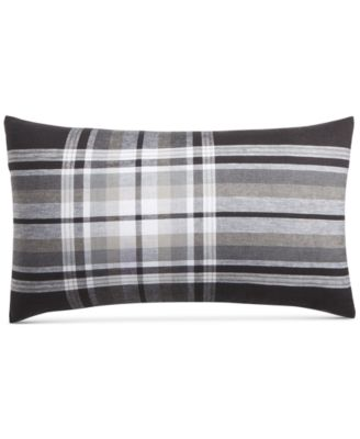 "CLOSEOUT!  Linen Plaid 14"" x 24"" Decorative Pillow, Created for Macy's"