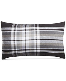 "CLOSEOUT! Hotel Collection  Linen Plaid 14"" x 24"" Decorative Pillow, Created for Macy's"