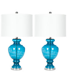 Safavieh Set of 2 Turquoise Glass Table Lamp