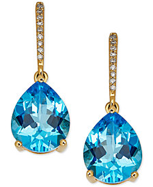 Blue Topaz (5-1/3 ct. t.w.) & Diamond Accent Drop Earrings in 14k Gold