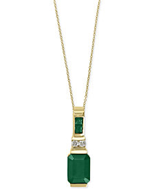 Brasilica by EFFY® Emerald (1-5/8 ct. t.w.) and Diamond Accent Pendant Necklace in 14k Gold, Created for Macy's