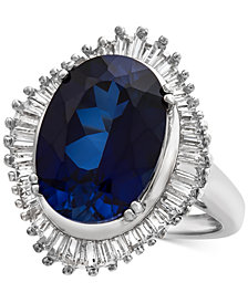 Lab-Created Blue Sapphire (6-1/2 ct. t.w.) & White Sapphire (1-1/8 ct. t.w.) Ring in Sterling Silver