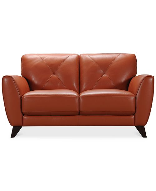 Myia 62 Leather Loveseat, Created for Macy\'s