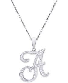 "Diamond Accent Script Initial 18"" Pendant Necklace in Silver Plate"
