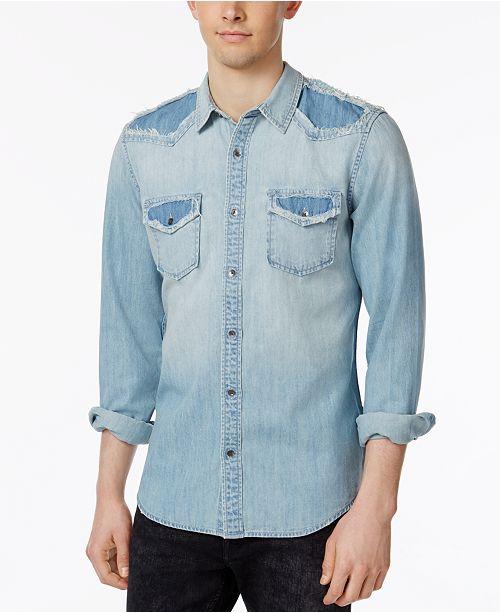 df5af8d141b GUESS Men s Western Maverick-Wash Denim Shirt   Reviews ...