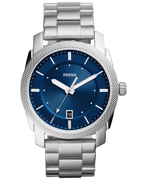 Fossil Mens Machine Stainless Steel Bracelet Watch 42mm Fs5340