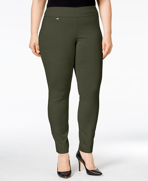 Alfani Plus & Petite Plus Size Tummy-Control Pull-On Skinny Pants, Created for Macy's