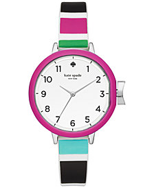 kate spade new york Women's Park Row Multi Striped Silicone Strap Watch 34mm KSW1312