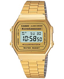 Casio Men's Digital Vintage Gold-Tone Stainless Steel Bracelet Watch 39x39mm A168WG-9MV