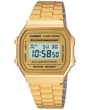 Men's Digital Vintage Gold-Tone Stainless Steel Bracelet Watch 39x39mm A168WG-9MV