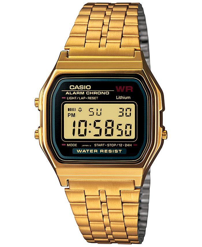 Casio - Men's Digital Vintage Gold-Tone Stainless Steel Bracelet Watch 34mm A159WGEA-1MV