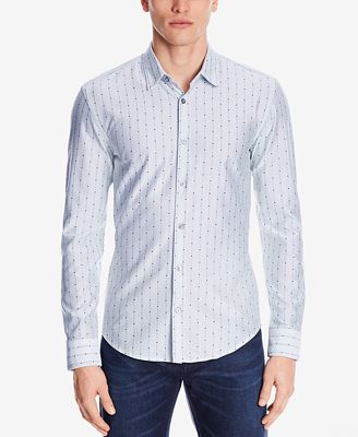 BOSS Men's Slim-Fit Jersey Cotton Shirt - Casual Button-Down ...
