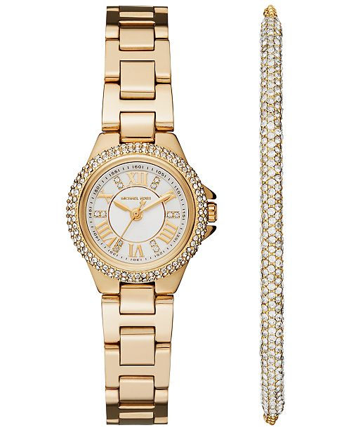 Michael Kors Women's Petite Camille Stainless Steel Bracelet Watch 26mm Gift Set