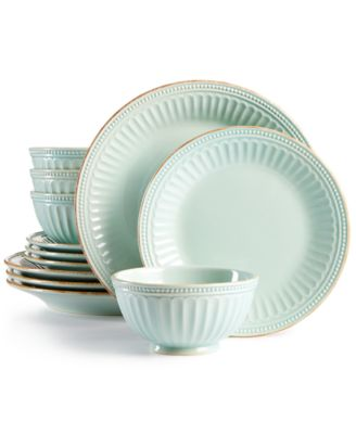 French Perle Groove Ice Blue 12-Piece Dinnerware Set Created for Macyu0027s  sc 1 st  Macyu0027s & Lenox French Perle Groove Collection - Dinnerware - Dining ...