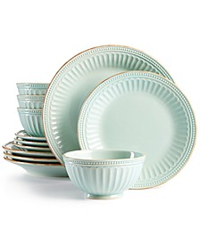 French Perle Groove Ice Blue 12-Piece Dinnerware Set, Service for 4, Created for Macy's