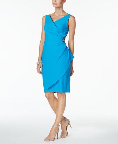 Alex Evenings Compression Embellished Ruched Sheath Dress